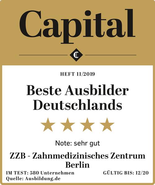 """Signet der Auszeichnung """"Beste Ausbilder Deutschlands 2019"""" von """"Capital"""" für das Zahnmedizinische Zentrum Berlin"""